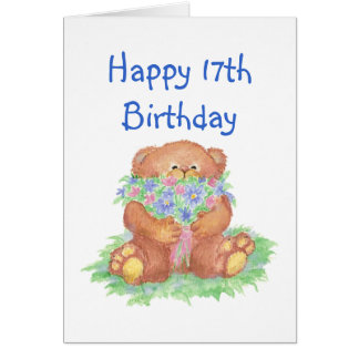 Flowers for 17th Birthday, Teddy Bear Card