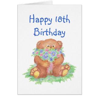 Flowers for 18th Birthday, Teddy Bear Greeting Card