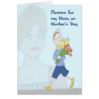 Flowers for Mum on Mother's Day from Young Son Card