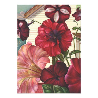 Flowers Garden Blank Invitations Housewarming move