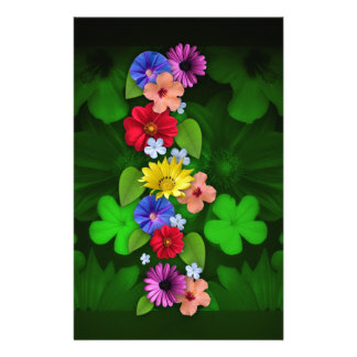 flowers Green Items Personalised Stationery