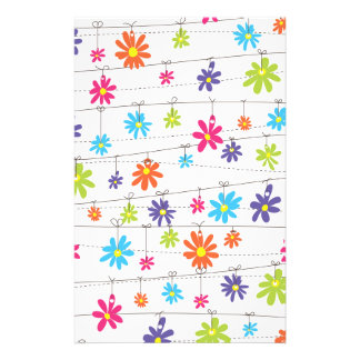 Flowers hanging from a line stationery paper