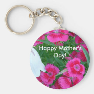 Flowers, Happy Mother's Day! Basic Round Button Key Ring