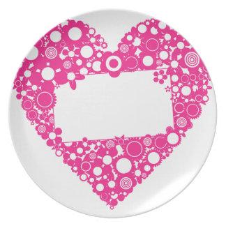 Flowers heart plate