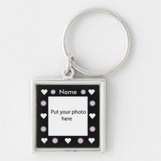 Flowers & Hearts Black Border Template Add Photo Key Ring