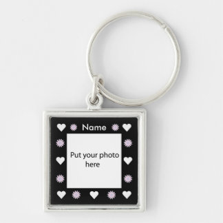 Flowers & Hearts Black Border Template Add Photo Silver-Colored Square Key Ring