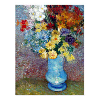 Flowers in a blue vase by Vincent van Gogh Postcard