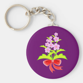 Flowers in a Bunch Basic Round Button Key Ring