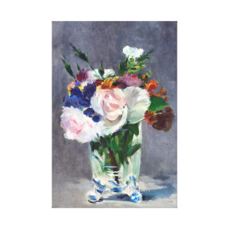 Flowers in a Crystal Vase Edouard Manet Fine Art Stretched Canvas Print