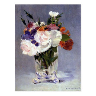 Flowers in a Crystal Vase Edouard Manet Fine Art Postcard