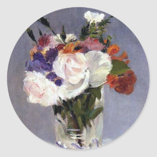 Flowers in a Crystal Vase Edouard Manet Fine Art Round Stickers