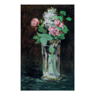 Flowers in a Crystal Vase Fine Art by Manet Print
