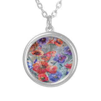 Flowers in a Field of Green Silver Plated Necklace