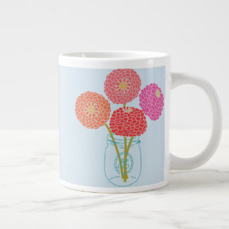 Flowers in a Mason Jar Large Coffee Mug