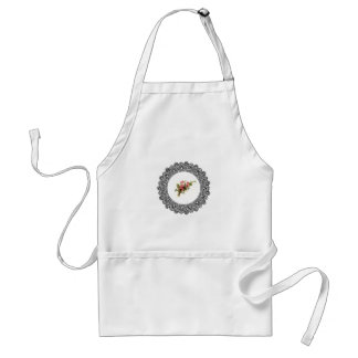 flowers in a round frame standard apron
