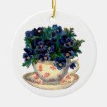 Flowers in a Teacup Vintage Art Round Ceramic Decoration