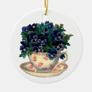 Flowers in a Teacup Vintage Art Ornaments