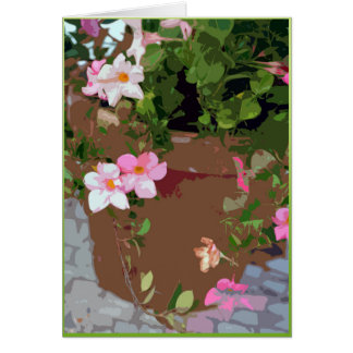 Flowers in a terra-cotta pot card