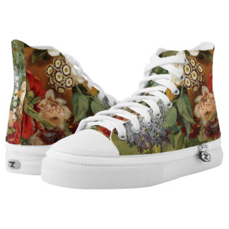 Flowers in a terra cotta vase printed shoes