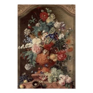 Flowers in a Terracotta Vase, 1736 Poster