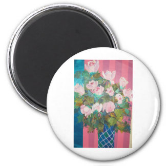 flowers in a vase 6 cm round magnet