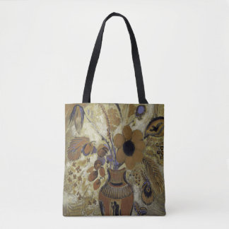 flowers in a vase, browns and blue tote bag