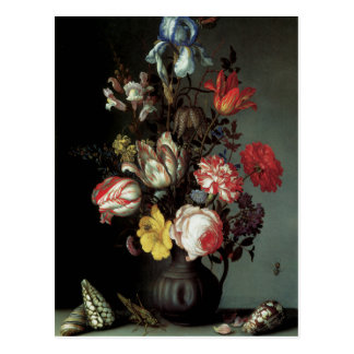 Flowers in a Vase with Shells and Insects Postcard