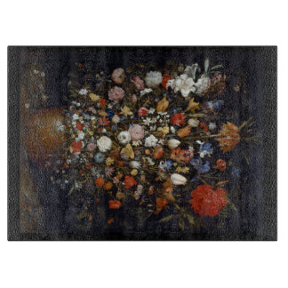 Flowers in a Wooden Vessel Chopping Board