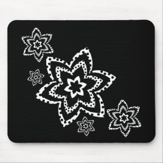 Flowers in black and white mouse pad