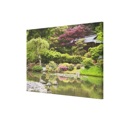 Flowers in bloom at Japanese Garden, Stretched Canvas Prints