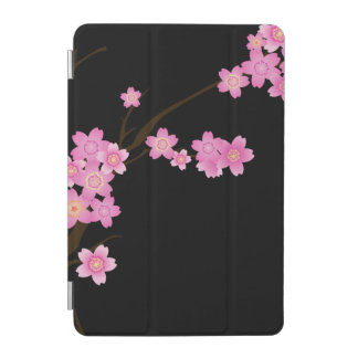 Flowers In Bloom, Cherry Blossom - Pink Black iPad Mini Cover