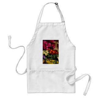 Flowers in brass bowl apron