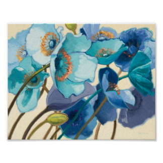 Flowers in Different Shades of Purple and Blue Poster