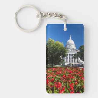 Flowers In Front Of State Capitol Building Double-Sided Rectangular Acrylic Key Ring