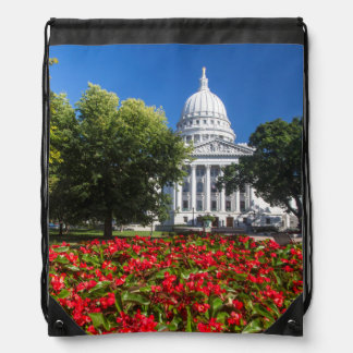 Flowers In Front Of State Capitol Building Drawstring Bags