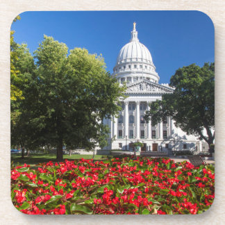 Flowers In Front Of State Capitol Building Drink Coaster