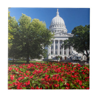 Flowers In Front Of State Capitol Building Small Square Tile