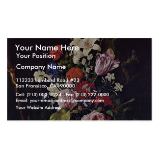 Flowers In Glass Vase Crucifix And A Skull By Heem Business Cards