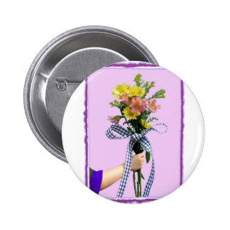 Flowers in Hand Pinback Button