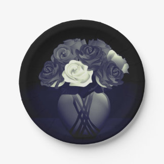 Flowers in Heart Vase Paper Plates 7 Inch Paper Plate
