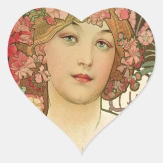 Flowers in her Hair Heart Sticker