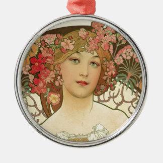 Flowers in her Hair Metal Ornament