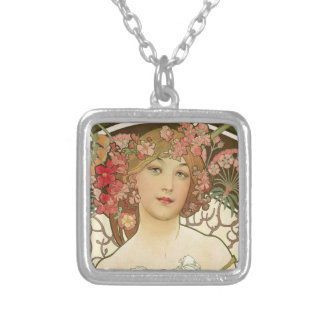 Flowers in her Hair Silver Plated Necklace