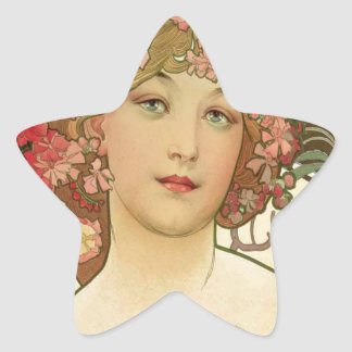 Flowers in her Hair Star Sticker