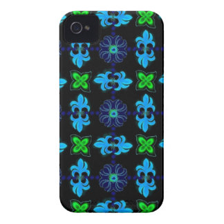 Flowers in kind Deco Retro styles green blue black iPhone 4 Case