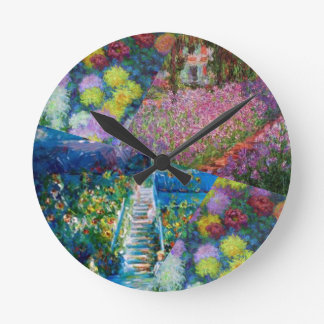 Flowers in Monet's garden are unique Round Clock