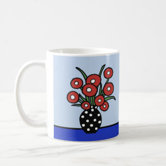 Flowers in Red Coffee Mug