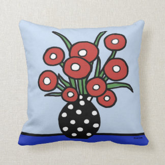 Flowers in Red Pillow