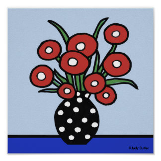 Flowers in Red Poster