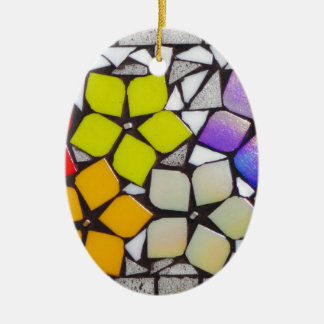 Flowers in Silver - A Mosaic Inspired Collection Ceramic Oval Decoration